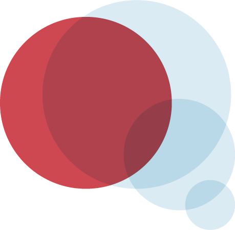 Red and blue transparent circles intersecting to form a thought bubble